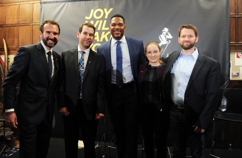 Steve Wilson, Doug Ellin, Michael Strahan, Eva Hakansson, Dr. Matt Killingsworth celebrate the launch of Johnnie Walker's Joy Will Take You Further global campaign at The Explorers Club September 29 (PRNewsFoto/Diageo)